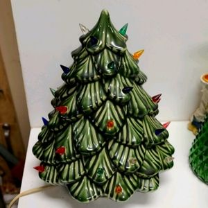 Vintage Ceramic Christmas tree hand-painted